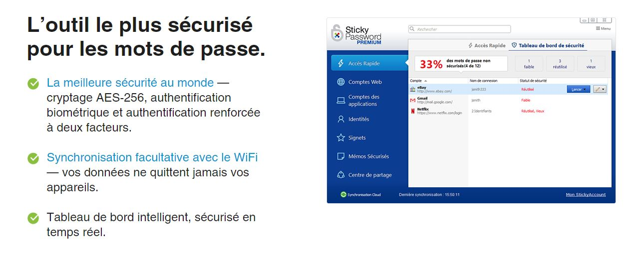 stickypassword sécurise