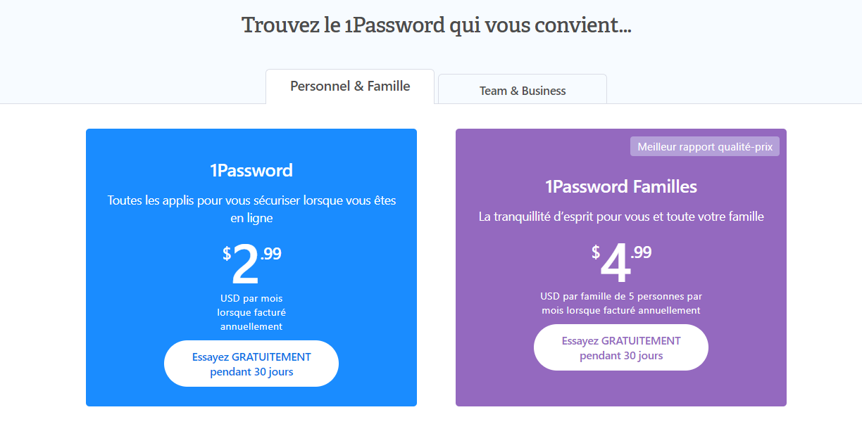 1password gratuit payant